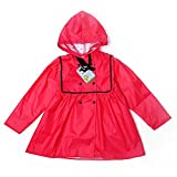 Mädchenregenmantel Einfarbiger Kindergarten Regenkleidung Baby Student Poncho (Farbe : Red, größe : L)