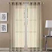 Queenzliving Symphony Sheers Curtain, Long Door 9 feet- Pack of 2, Cream