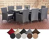 CLP Polyrattan-Sitzgruppe AVIGNON BIG   Garten-Set mit 8 Sitzplätzen   Komplett-Set bestehend aus: 1x Tisch und 8 Gartenstühlen inklusive Sitzauflagen   In verschiedenen Farben erhältlich Rattanfarbe: Grau, Bezugfarbe: Cremeweiß