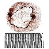 nuoshen 60 Stück Haarnetze, unsichtbare Haarnetze, elastischer Rand, Netz-Haarknotenhalter und 50 U-förmige Pins Set für Frauen Ballett-Dutt