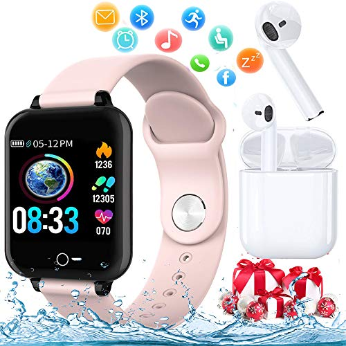 Smartwatch Orologio (2019) Fitness Uomo Donna Impermeabile IP68 Smart Watch Cardiofrequenzimetro da Polso Contapassi Smartband Tracker Bambini Activity per for iPhone Huawei Samsung Android iOS (Rosa)