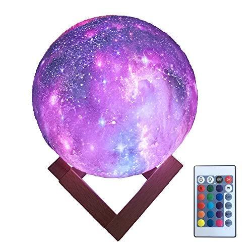 HYODREAM 3D Druck Mondlicht Kinder-Nachtlicht 16 Farbwechsel Touch- und Fernbedienung Sternenlicht als Geschenk für Jungen oder Mädchen (15 cm) -