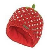 McRon Kinder Gestrickte Wintermütze mit Fleecefutter Erdbeere