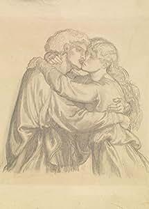 """Millésime Dante Gabriel ROSSETTI """" La Damoiselle bénie - Etude de Deux Amants Enlacés """" Environ 1875-77 - Sur Format A3 Papiers Brillants de 250g. Affiches de Reproduction"""