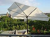Neues Modell ab März 2018 - MADE in BADEN WÜRTTEMBERG - STABIELO - BALKON - Stuhl-Sonnenschirm Holly'mat - Fächerschirm WEISS/NATUR - siehe BEZUGS FARBEN HUSUM Bild 2 - mit Holly  5 fach im RADIUS verstellbare 360 ° MULTI - halterung GVC (35 EUR) - Für Befestigungen von Ø 25 - 55-60 mm - INNOVATIONEN MADE in GERMANY - HOLLY PRODUKTE STABIELO  - holly-sunshade  - mit Rasen - und Bodenspieß - IT : fächerschirme holly video -