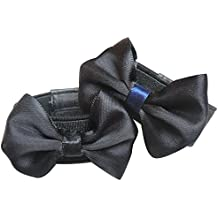 BEETEST Niños Bowknot estilo zapatos antideslizante correa elástico correa banda cordones zapato decoración accesorios del zapato Negro M