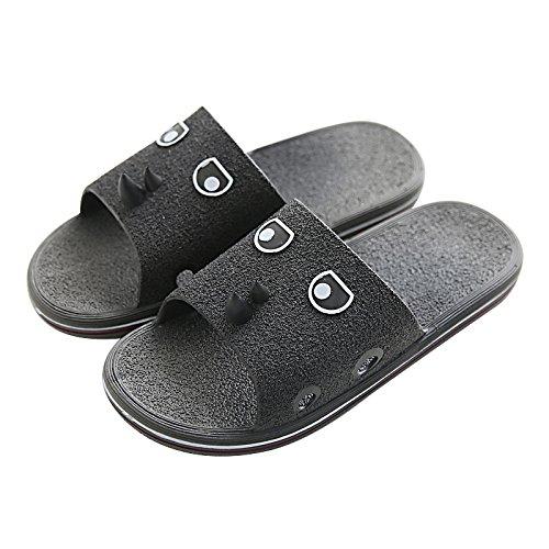 DogHaccd pantofole,Raffreddare le pantofole per donna estate bagno morbida antiscivolo mobili pantofole indoor home soggiorno blu maschio pantofole Nero1