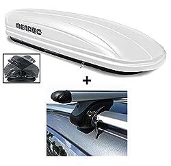 Dachbox weiß VDP-MAA580 Duo großer Dachkoffer abschließbar + Alu-Relingträger Dachgepäckträger 580 Liter kompatibel mit VW Touran Kombi 03-14