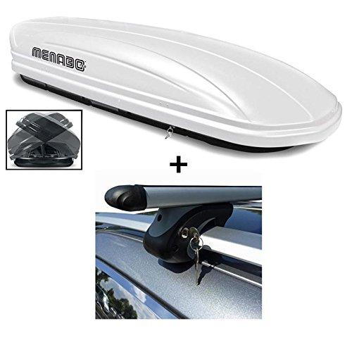 Dachbox weiß VDP-MAA580 Duo großer Dachkoffer abschließbar + Alu-Relingträger Dachgepäckträger für BMW 3er Touring (Kombi) E91 05-12 90kg