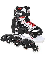 2in1 Schlittschuhe Inlineskates ABEC 5 rot schwarz weiß Gr. 29-32, 33-36, 37-40 verstellbare Kinder Skates