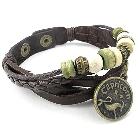 Konov Jewellery Mens Womens Leather Bracelet, Capricorn, Handmade Constellation Zodiac Sign Logo Charms, Beads, Button, Adjustable Size Bangle, Black (with Gift Bag)