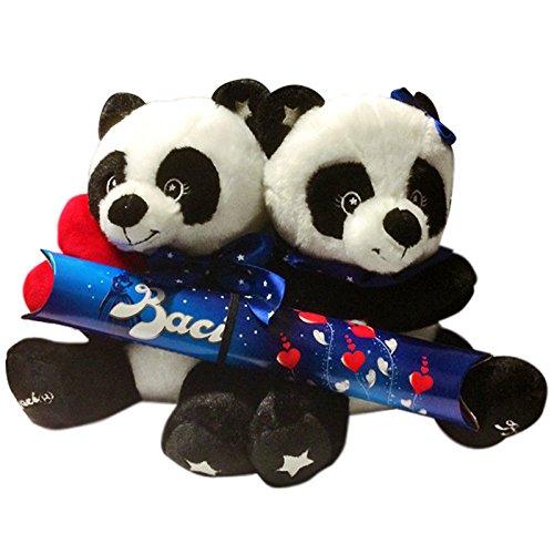PELUCHE coppia di PANDA con BACI PERUGINA cioccolatini cioccolata SAN VALENTINO