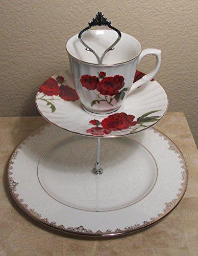 (Kuchen stehen oder für Hors d 'ouvres und Schmuck–Vintage Teller–One of a Kind Red Roses and Platinum Lenox)