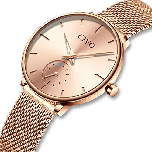 e3683fbadfcd CIVO Relojes para Mujer Reloj Damas de Malla Impermeable Minimalista  Elegante Banda de Acero Inoxidable Relojes de Pulsera Mujers Moda Vestir  Casual Negocio ...