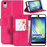 DONZO Tasche Handyhülle Cover Case für das HTC Desire Eye in Pink Wallet Washed als Etui seitlich aufklappbar im Book-Style mit Kartenfach nutzbar als Geldbörse