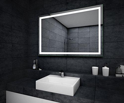 Espejo de baño moderno e iluminado, fabricado a medida con marco luminoso LED