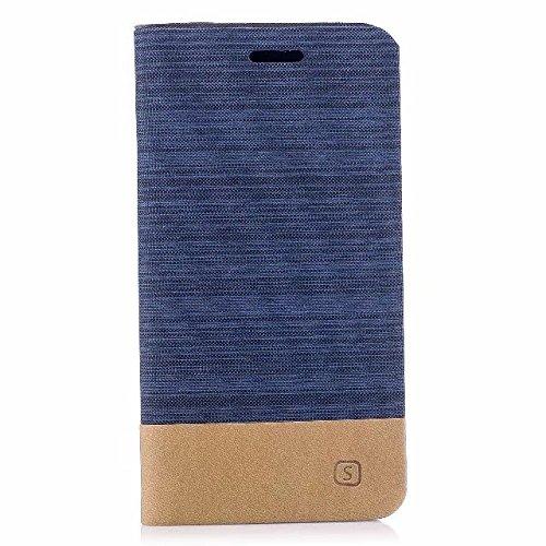 EKINHUI Case Cover Mischfarben Canvas Jeans Stoff Textur PU Leder weich TPU Rückentasche mit Kickstand und Card Slots für iPhone X Edition ( Color : White ) Darkblue