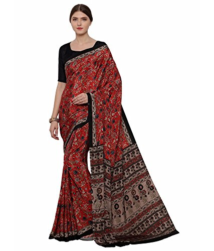 Ligalz Women's Crepe Printed Saree With Blouse Piece (VR00996_Red)