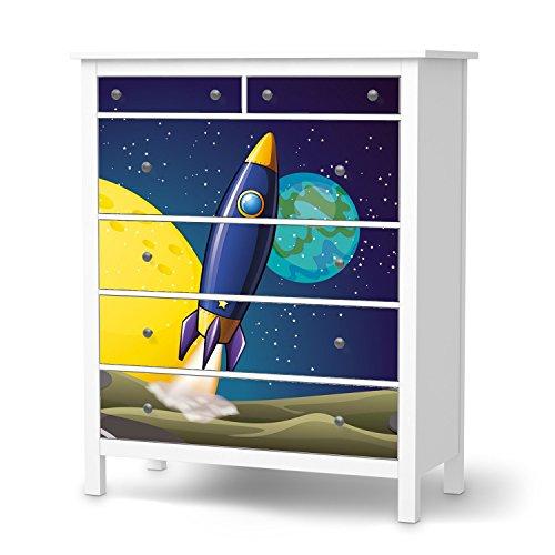 creatisto Einrichtungsfolie für IKEA Hemnes Kommode 6 Schubladen I Möbelfolie Klebetapete Folie Aufkleber Möbel verschönern I Home und Style Wohnzimmer Wohnung accesoire I Design Motiv Space Rocket -