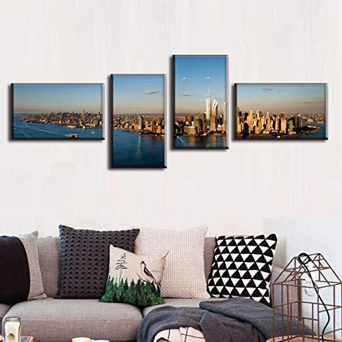 ück/Set Moderne Leinwand-Malerei Landschaft Leinwand Panorama Der New York City Bürowandbilder, 12x20x4, Innenrahmen ()