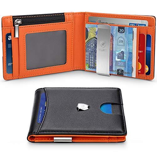 Descripción del producto:    La billetera en Wilbest es una billetera delgada con función RFID para proteger su información personal. Hay 8 ranuras para tarjetas y puedes poner cambio y tarjetas. El clip de dinero plateado es ideal para la protección...