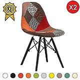 MOBISTYL Promo 2 x Chaise Design Inspiration Eiffel Pieds Bois Noir Assise Patchwork Automne DSWB-PCM-2