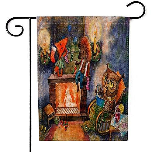 BI HomeDecor Outdoor Seasonal Flag,Navidad Chimenea Acogedor Festivo De La Serie Acerca...