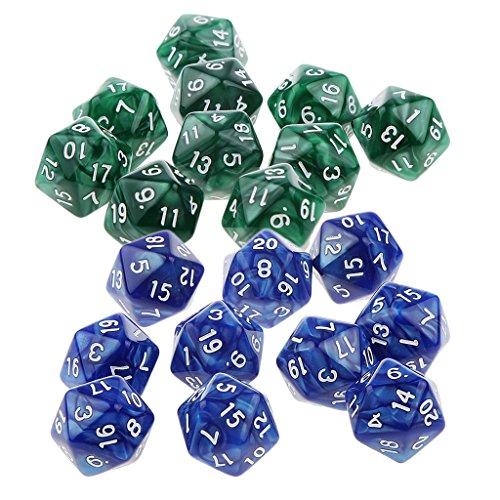 Sharplace 20er-Set Acryl 20-Seitig D20 Dice Würfel Spielwürfel für Brettspiel Kartenspiel - Grün und Blau