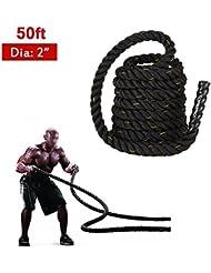 TOMSHOO Battle Ropes Corde Fitness per Workout Muscolo Lunghezza 15M Diametro 50MM
