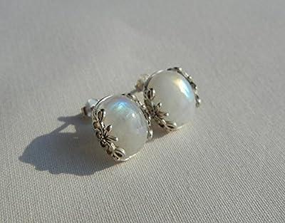 Boucles d'oreilles pierre de lune, pierre naturelle, en argent Massif 925