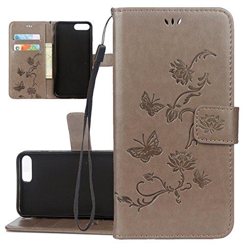 Custodia iPhone 7 Plus, ISAKEN Custodia iPhone 7 Plus, iPhone 7 Plus Flip Cover con Strap, Elegante borsa Albero Design in Sintetica Ecopelle Sbalzato PU Pelle Protettiva Portafoglio Case Cover per Ap Lotu: grigio