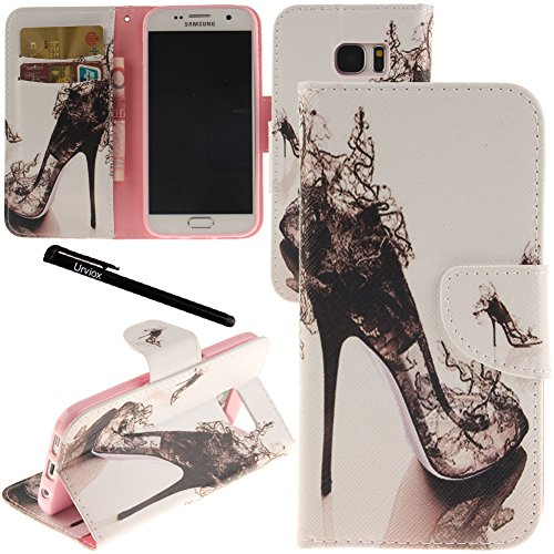 Galleria fotografica Urvoix Galaxy S7 case, carta supporto Custodia a portafoglio in pelle – High Heeled shoe Flip Cover per G930 Samsung Galaxy S7
