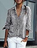 Swall owuk Donna Manica Lunga Moda Casual Senza strisce camicia bluse top nero nero 5XL