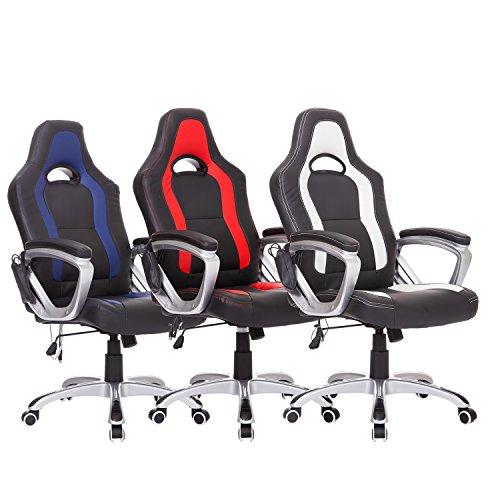 Homcom Massagesessel Bürostuhl Chefsessel Racing Drehstuhl mit Wärmefunktion, Kunstleder, 64x68x(112-121) cm