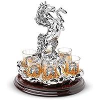 Chinelli Lucky Set 6 pezzi Statua Verticale Vodka Base Tonda, Resina Argentata, Argento, 23x23x27 cm