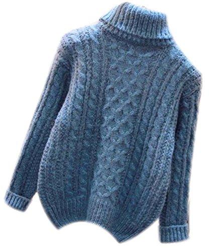 Maglione Collo Alto Trecce Donna Maglioni Dolcevita Donna Maglieria Da Signora Grobstrick Femminili Signora Tops Autunno Inverno Blu