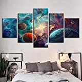DOORWD Wandbilder Home Dekorativ Modern 5-teilig Großplakat Leinwanddruck Gemalter Planet 30x40cmx2 30x60cmx2 30x80cmx1 Kein Rahmen
