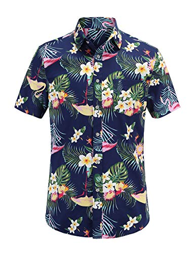 JEETOO Homme Chemise Hawaienne Casual Manches...