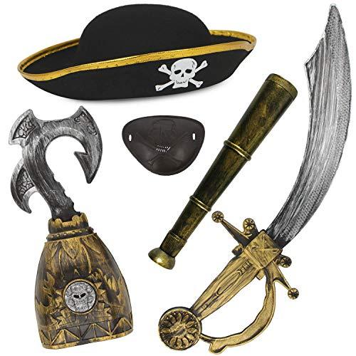 Kostüm Teilig 5 Pirat - com-four® 5-teiliges Zubehör-Set für Piraten-Kostüme - Ideal für Karneval, Motto-Partys und Kostümveranstaltungen (05-teilig - Piratenset)