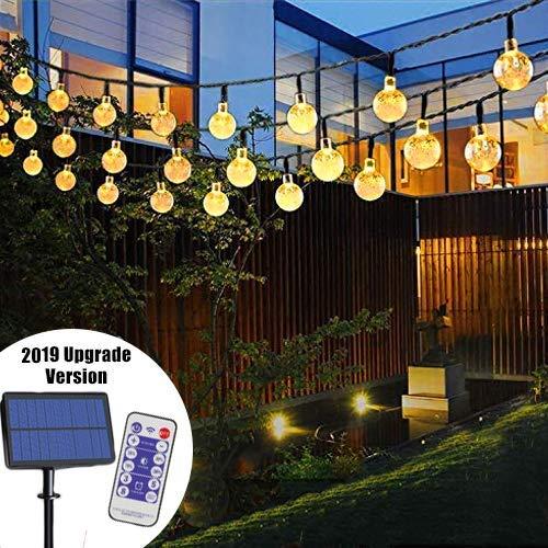 LED Solar Lichterkette | Lunlight 6M 40 LED Solar Beleuchtung Lichterketten Kristall Kugeln | Warmweiß, 14-30 Stunden, Wasserdicht, für Terrasse, Hochzeiten, Events [Energieklasse A+]