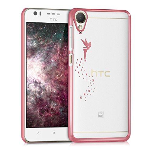 kwmobile Crystal Case Hülle für > HTC Desire 10 Lifestyle < mit Fee Design - transparente Schutzhülle Cover klar in Pink Transparent