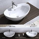 BTH 59x39x21cm Aufsatzwaschbecken Brüssel302 aus Keramik inkl. Nano-Versiegelung/Abperl-Effekt Waschschale Waschbecken