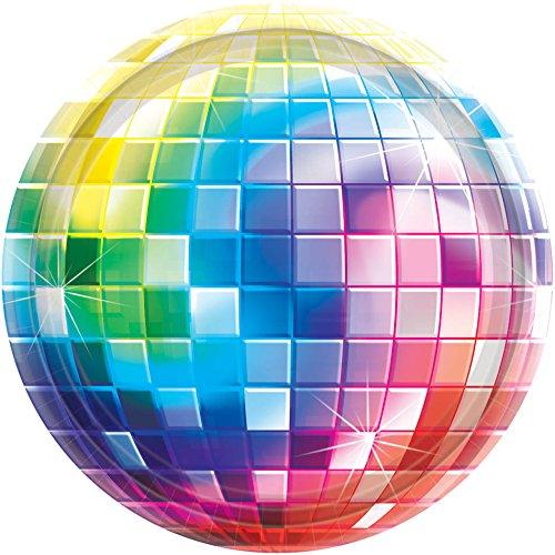 Pappteller Discokugel Party-Deko 8 Stück bunt 18cm Einheitsgröße ()