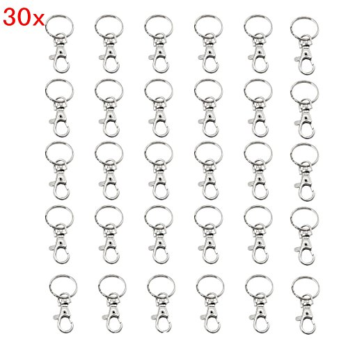 Jzk 30 ganci portachiavi moschettone chiusure in metallo con 25mm anello per porta chiavi fibbia girevole gancetti a moschettoni