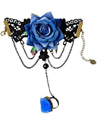 Navidad Moda Retro Accesorios Cosplay Cordón La Flor Azul Colgante Pulsera Con El Anillo Partido De La Mascarada
