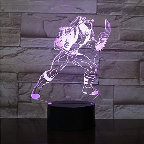 t 7 Farben dimensionale Basketball Licht, optische Nachtlichter, Tischlampe Atmosphäre Dekoration, Kinder Geburtstagsgeschenke, Wolverine ()