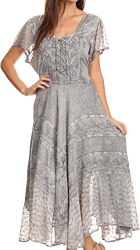 Sakkas 1322 Marigold Gestickte Fairy Dress - grau - S/M