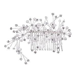 BiBeary Damen elegant Hochzeiten Kristall Simulierte Perlen DREI Blumes Form Manual Handarbeit Haarkamm Haarkämme Haarschmuck Silber-Ton