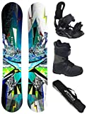 AIRTRACKS Snowboard Set / Board Places Wide Flat Rocker 165 + Snowboard Bindung Star + Boots Star Black 46 + Sb Bag