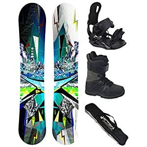 Airtracks Snowboard Komplett Set – PLACES Wide Flat Rocker + Snowboard Bindung Star + Snowboardboots + Sb Bag / 156 159 165 cm